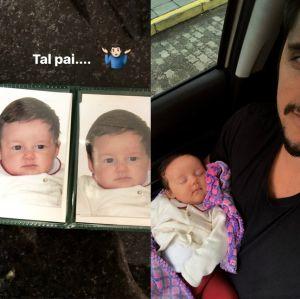 Tal pai, tal filha! Bruno Gissoni prova que Madalena é a cara dele quando bebê, confira!