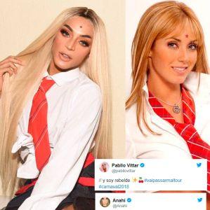 Anahi. Foto do site da Entretenimento R7 que mostra Pabllo Vittar se veste com uniforme de RBD e Anahí elogia: Que linda! Veja os famosos que adoram tietar seus ídolos!