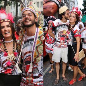 Curte. Foto do site da Entretenimento R7 que mostra Fátima Bernardes curte bloco com Túlio Gadêlha, que se declara: Quem tira onda é ela