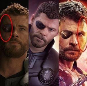 Mostra. Foto do site da Entretenimento R7 que mostra Ops! Novo pôster de Os Vingadores: Guerra Infinita mostra cicatriz de Thor no olho errado