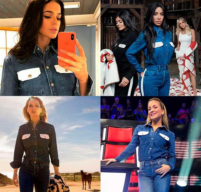 3bd1b9a0e2 As quatro usaram looks all jeans com uma camisa Calvin Klein de bolsos  brancos
