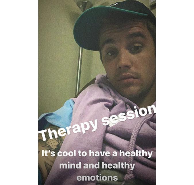 3269b2997 Justin Bieber publica selfie na terapia e afirma  Mente saudável ...